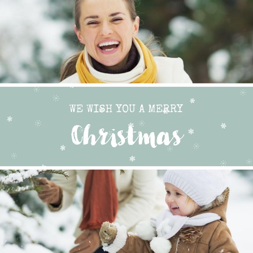 Kerstkaarten - Vierkante kerstkaart met fotocollage en sneeuwvlokjes