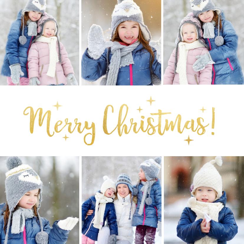 Kerstkaarten - Vierkante kerstkaart met fotocollage met 6 foto's en goud