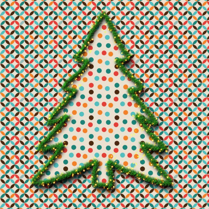 Kerstkaarten - vintage kerstboom met stippen