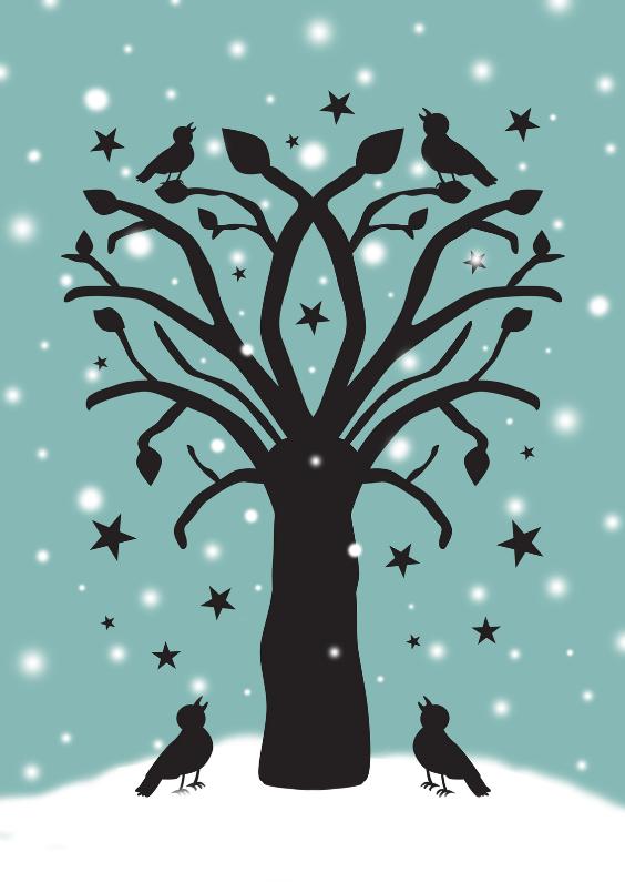 Kerstkaarten - Vogelboom in sneeuw blauw
