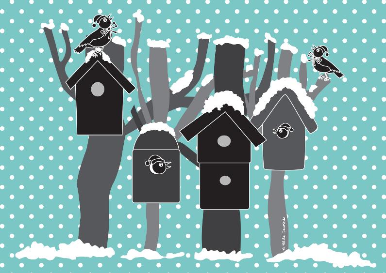 Kerstkaarten - Vogelhuisjes grijs op blauw