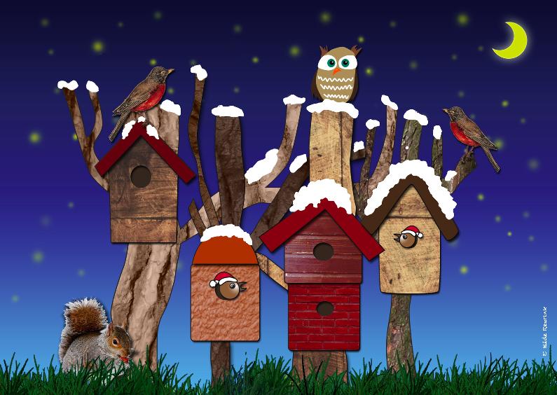Kerstkaarten - Vogelhuisjes Kerst avond