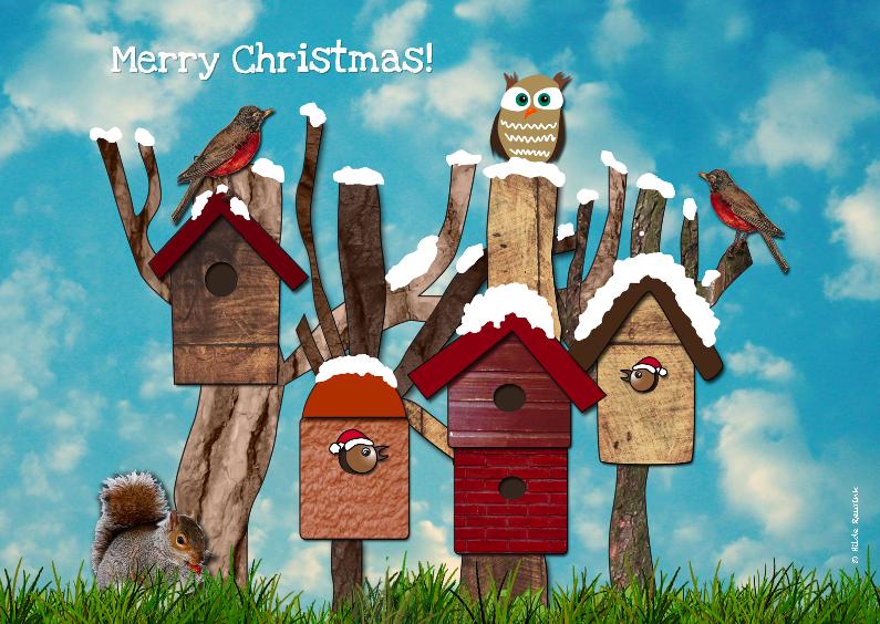 Kerstkaarten - Vogelhuisjes Kerst dag