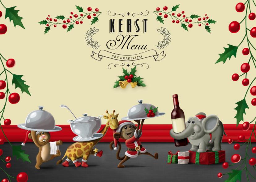 Kerstkaarten - Vrolijk kerst menukaart met diertjes