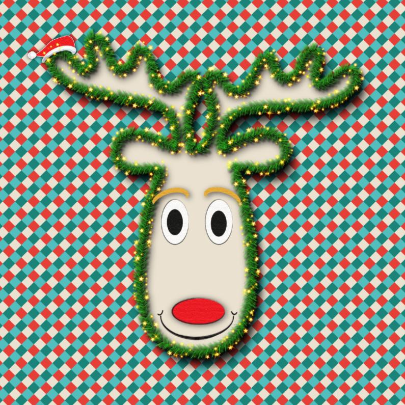 Kerstkaarten - vrolijk rendier met ruiten