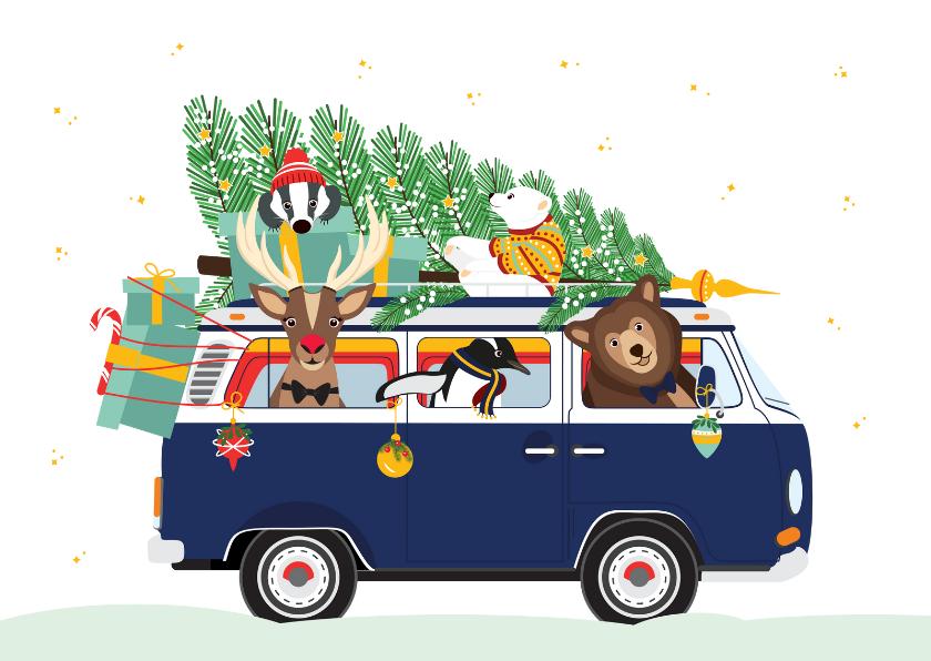 Kerstkaarten - Vrolijk Volkswagen busje vol lieve kerst diertjes