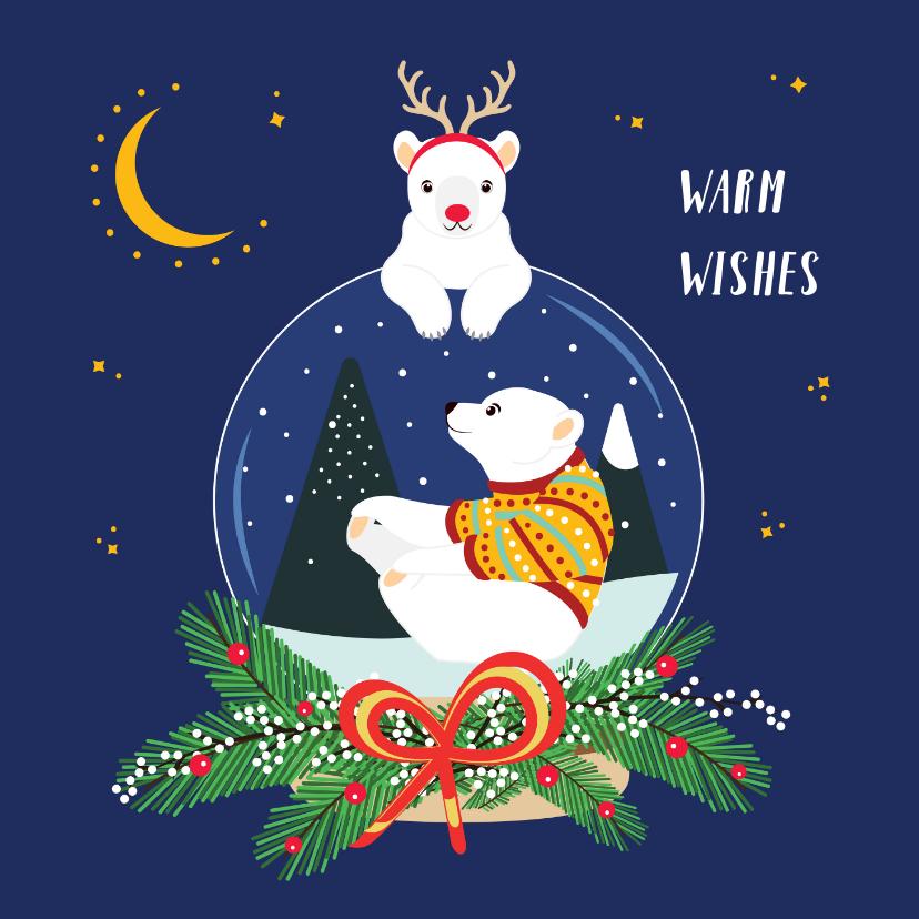 Kerstkaarten - Vrolijke ijsbeertjes in sneeuwglobe