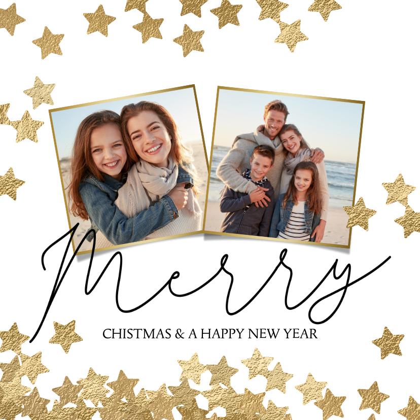 Kerstkaarten - Vrolijke kerstkaart 2 fotos en sterren goud