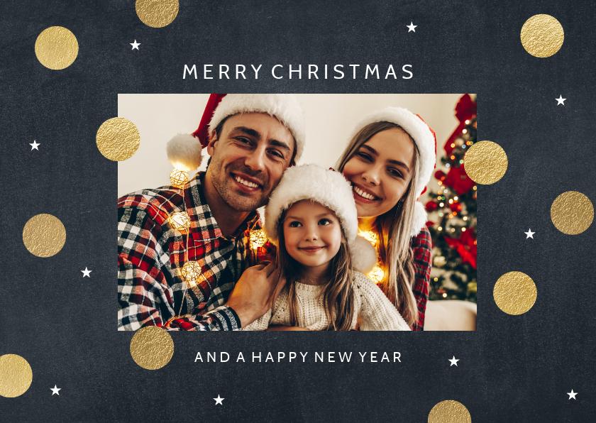 Kerstkaarten - Vrolijke kerstkaart gouden dots met sterretjes
