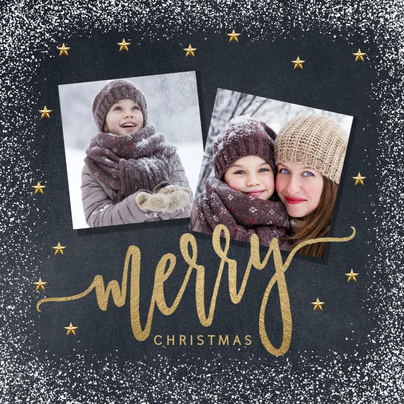Kerstkaarten - Vrolijke kerstkaart krijtbord sneeuw Merry