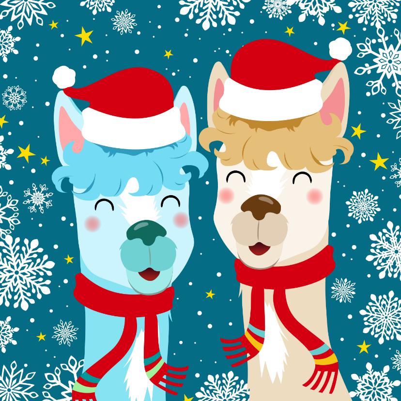 Kerstkaarten - Vrolijke kerstkaart met alpacas en sneeuwvlokken