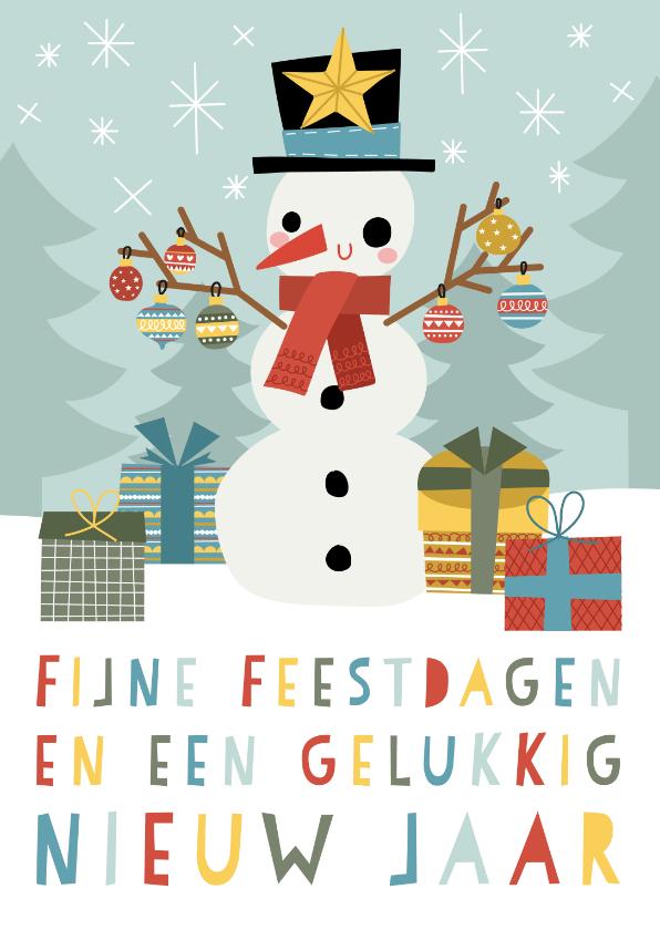 Kerstkaarten - Vrolijke kerstkaart met blije sneeuwpop en typografie
