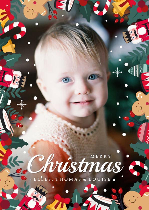 Kerstkaarten - Vrolijke kerstkaart met grote foto en kerstfiguurtjes rondom