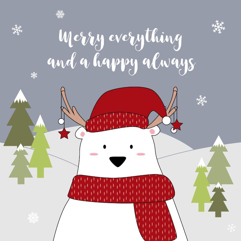 Kerstkaarten - Vrolijke kerstkaart met ijsbeer