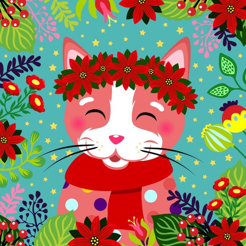 Kerstkaarten - Vrolijke kerstkaart met kat, bloemen en sterren