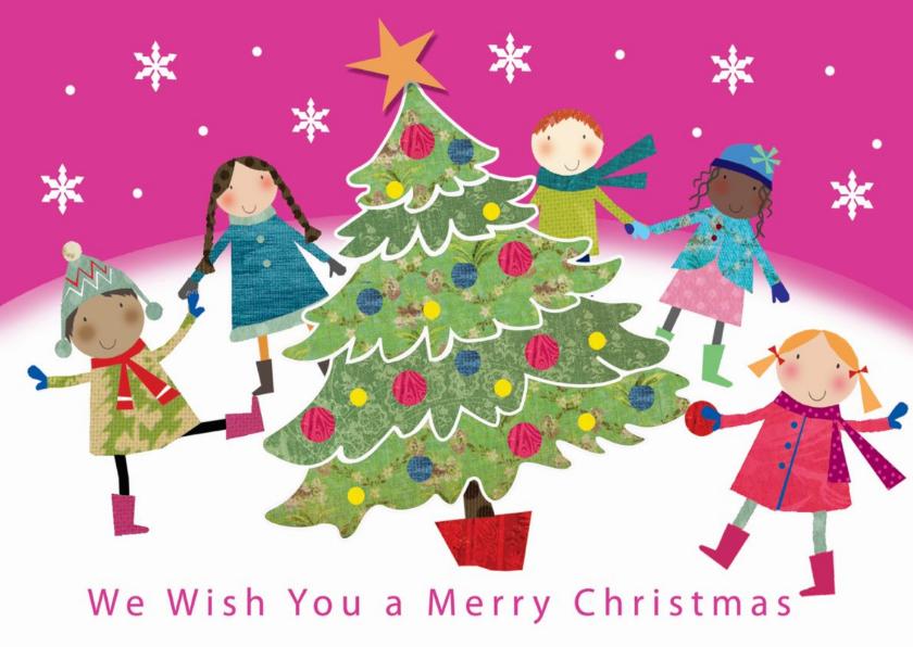 Kerstkaarten - Vrolijke kerstkaart met kinderen dansend om een kerstboom