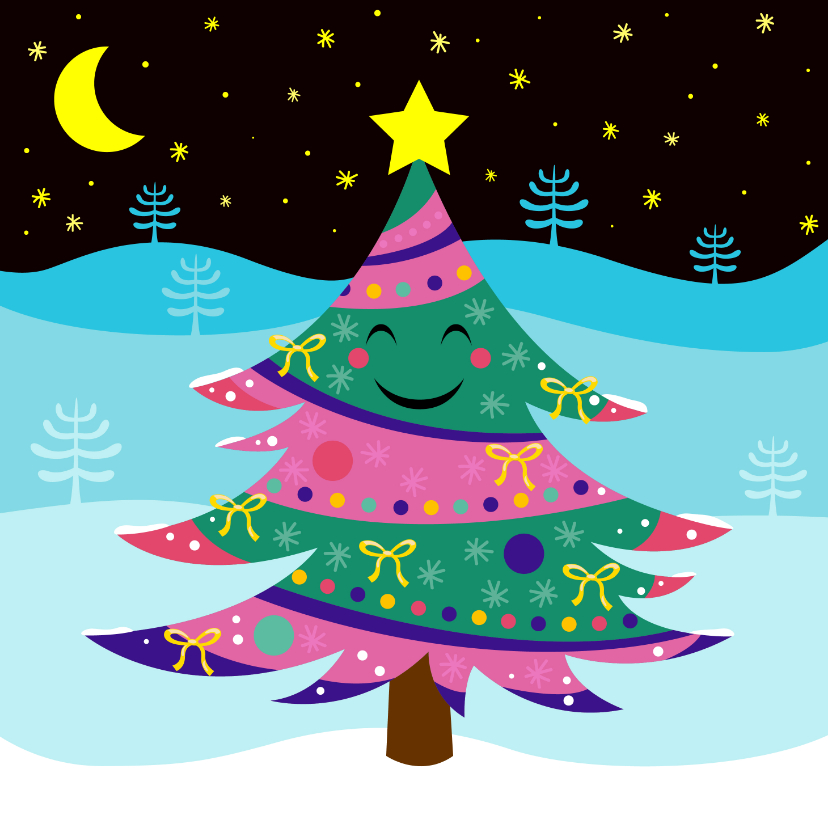 Kerstkaarten - Vrolijke kerstkaart met lachende kerstboom