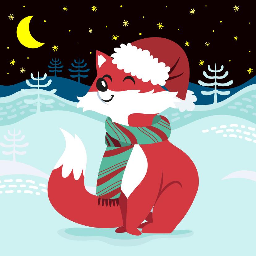 Kerstkaarten - Vrolijke kerstkaart met lief vosje en sterren