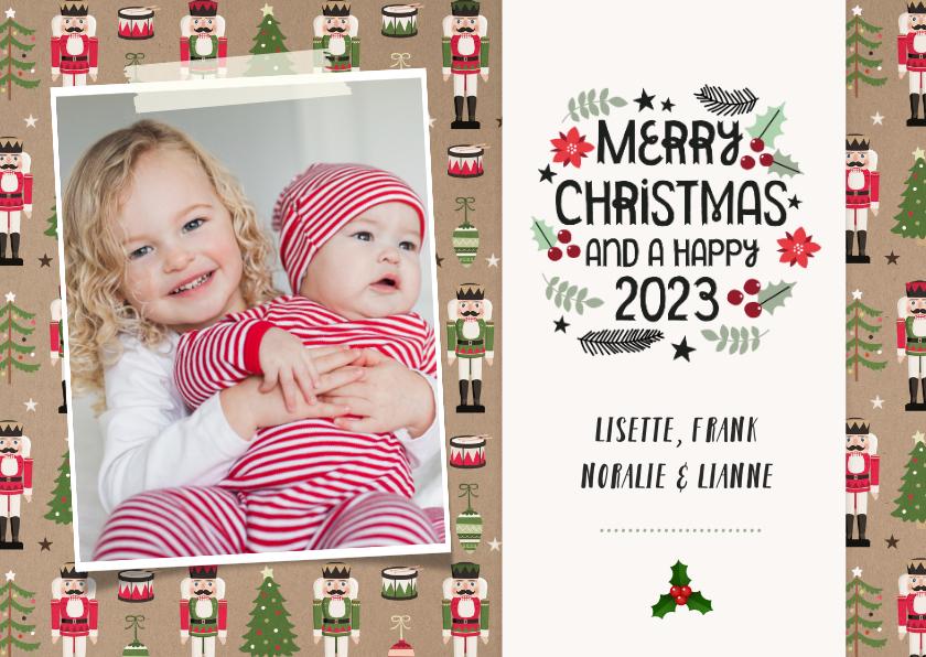 Kerstkaarten - Vrolijke kerstkaart met notenkraker patroon en eigen foto
