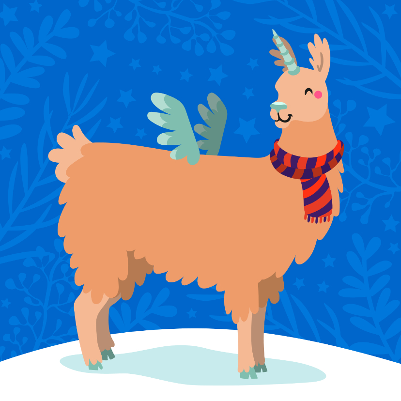 Kerstkaarten - Vrolijke kerstkaart met unicorn lama