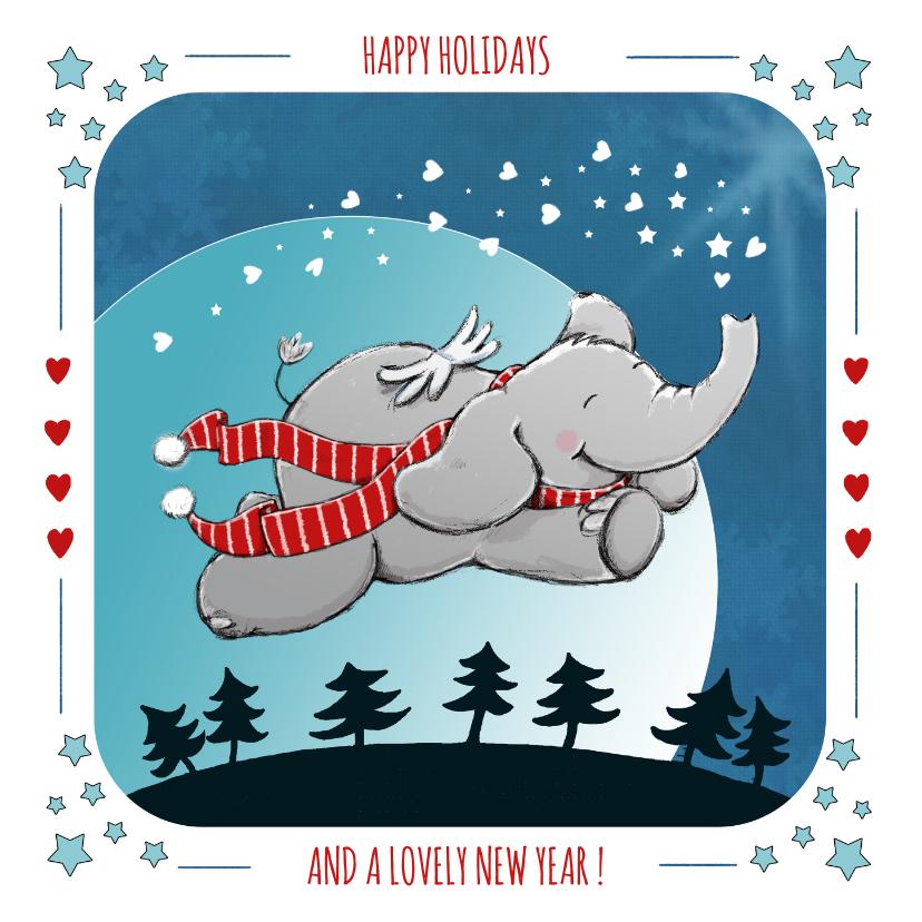 Kerstkaarten - Vrolijke kerstkaart met vliegend olifantje