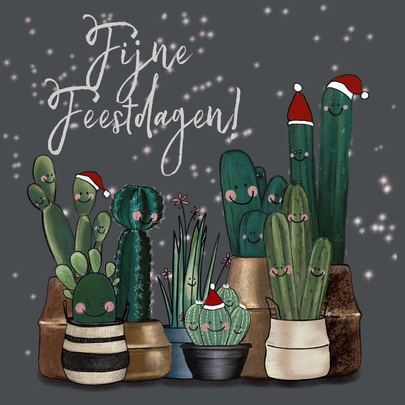 Kerstkaarten - Vrolijke kerstkaart vol met cactussen en sterren