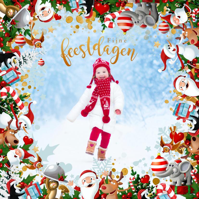 Kerstkaarten - Vrolijke Kerstkrans met eigen foto