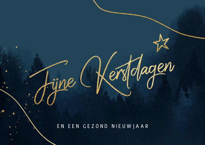 Kerstkaarten - Waterverf kerstkaart kerstbomen blauw goud