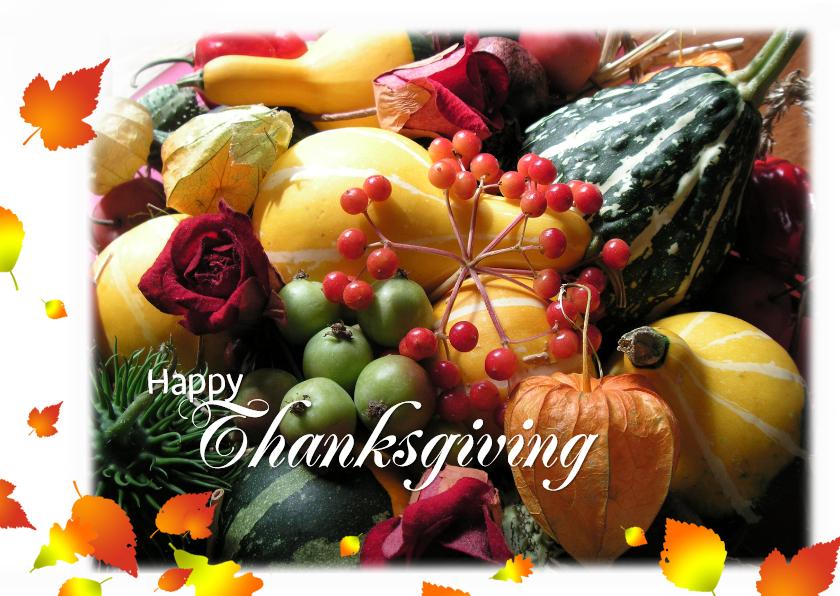Kerstkaarten - wenskaart Happy Thanksgiving