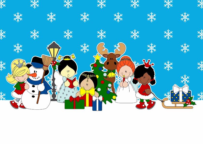Kerstkaarten - Winter, prinsessen in sneeuw!