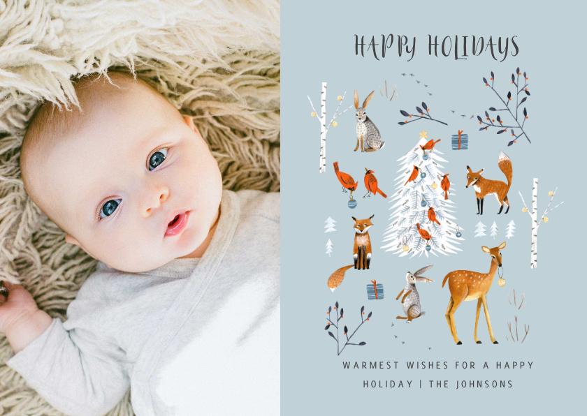 Kerstkaarten - Winter wonderland dieren met kerstboom
