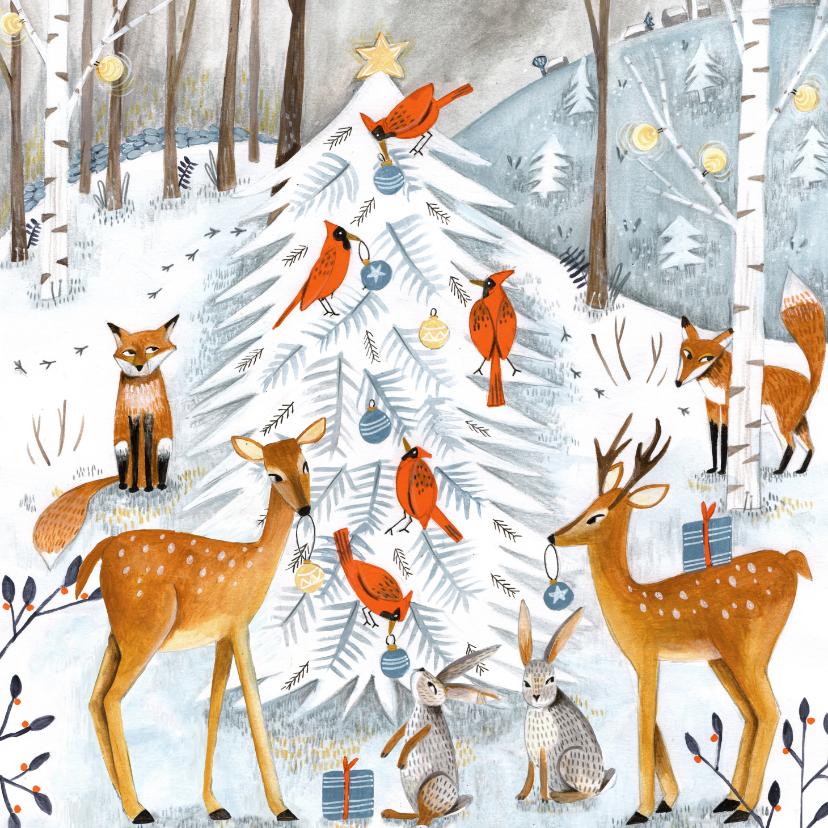 Kerstkaarten - Winter wonderland kerstboom en dieren