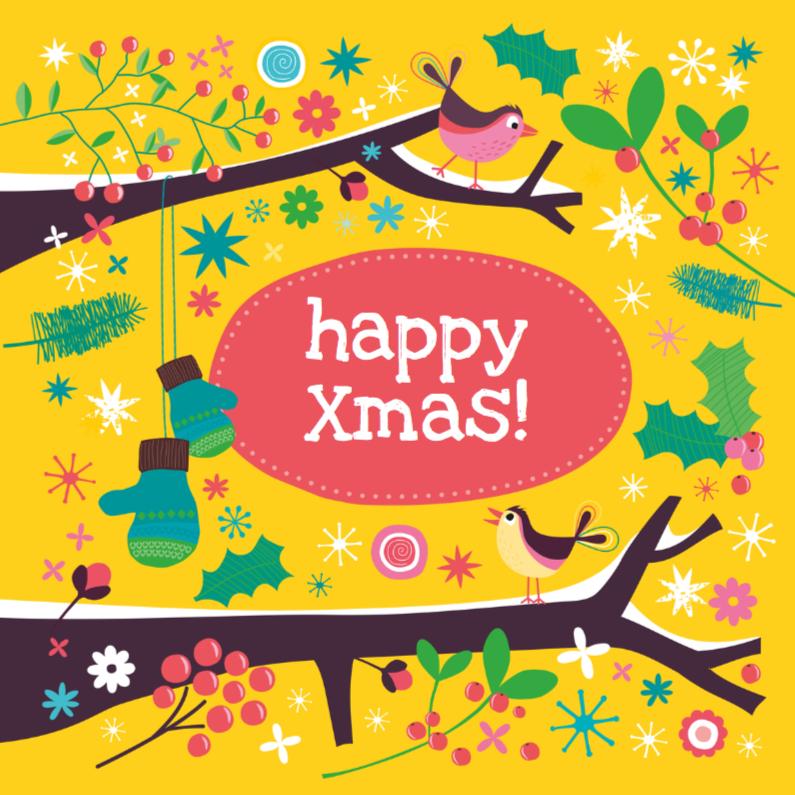 Kerstkaarten - Winterse boomtak met vogeltjes 2