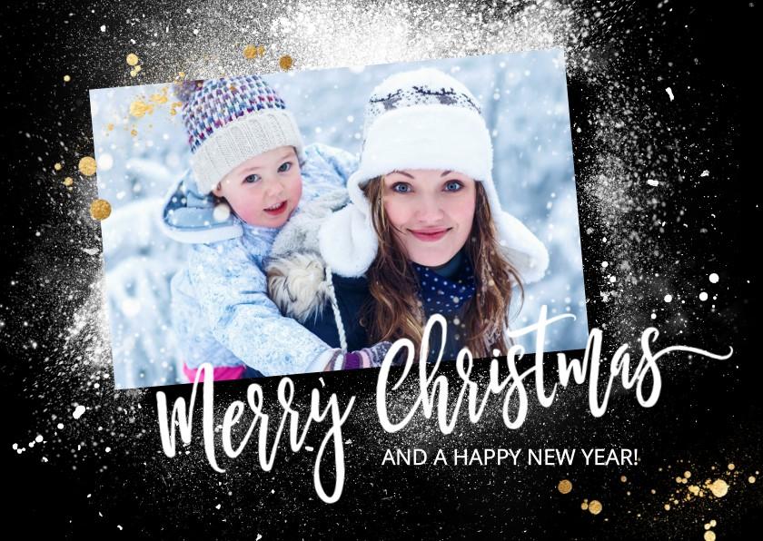 Kerstkaarten - Winterse foto kerstkaart met sneeuw splash