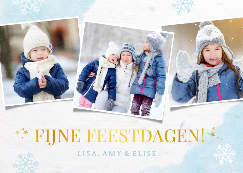 Kerstkaarten - Winterse fotocollage kerstkaart met sneeuwvlokken en foto's