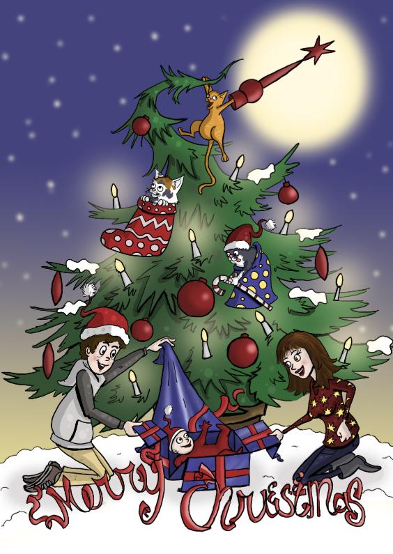 Kerstkaarten - Winterse kerstboom met katten