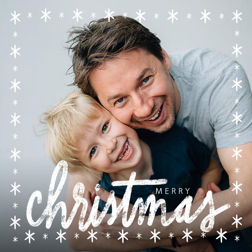 Kerstkaarten - Winterse kerstkaart, grote foto en merry christmas