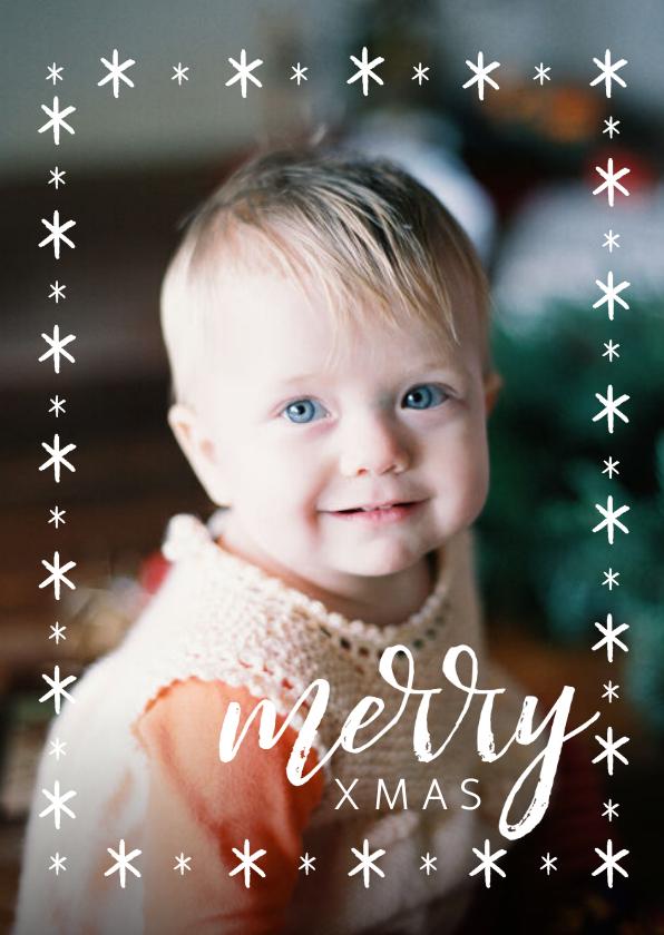 Kerstkaarten - Winterse kerstkaart met grote foto en merry xmas