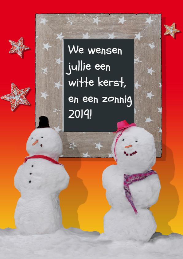 Kerstkaarten - Witte kerst met sneeuwpoppen