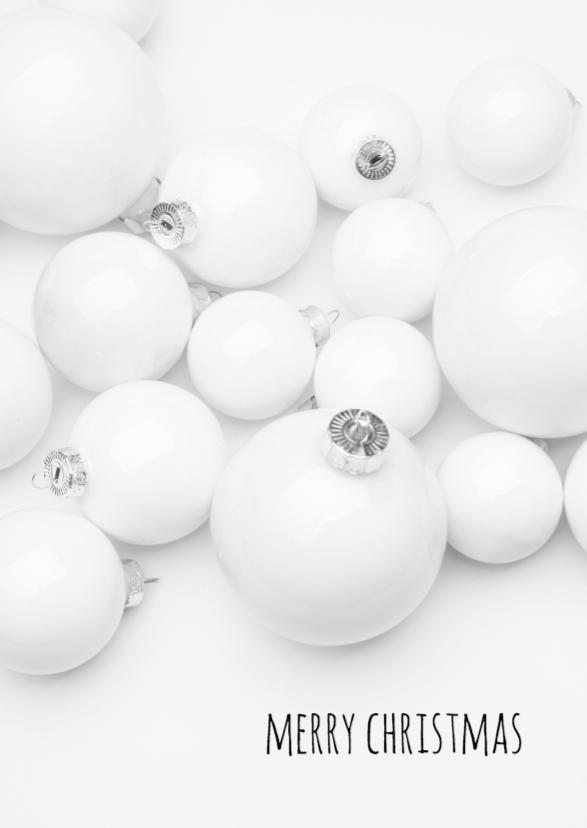 Kerstkaarten - Witte kerstballen kerstkaart