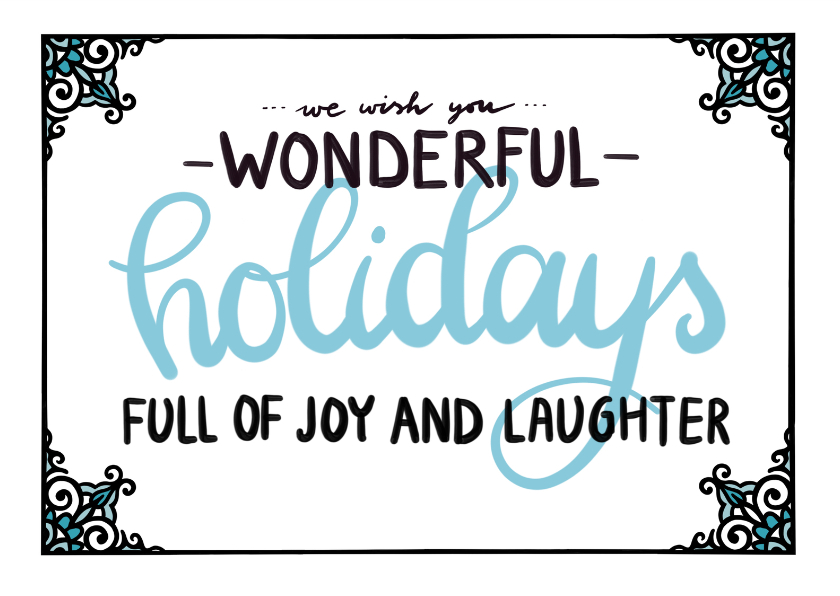 Kerstkaarten - Wonderful holidays blauw - EM