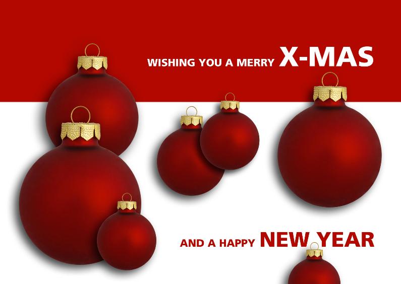Kerstkaarten - X-mas & New year rode kerstballen - OT