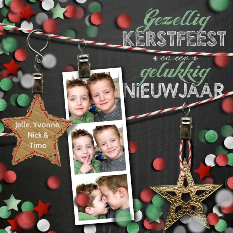 Kerstkaarten - YVON eigen foto confetti ster