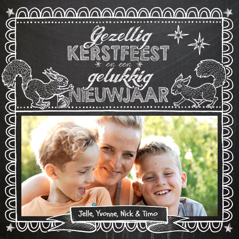 Kerstkaarten - YVON eigen foto eekhoorns label