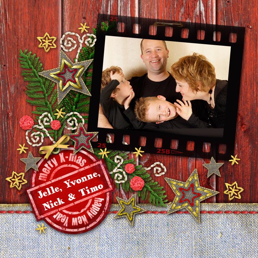 Kerstkaarten - YVON eigen foto rood hout label vk