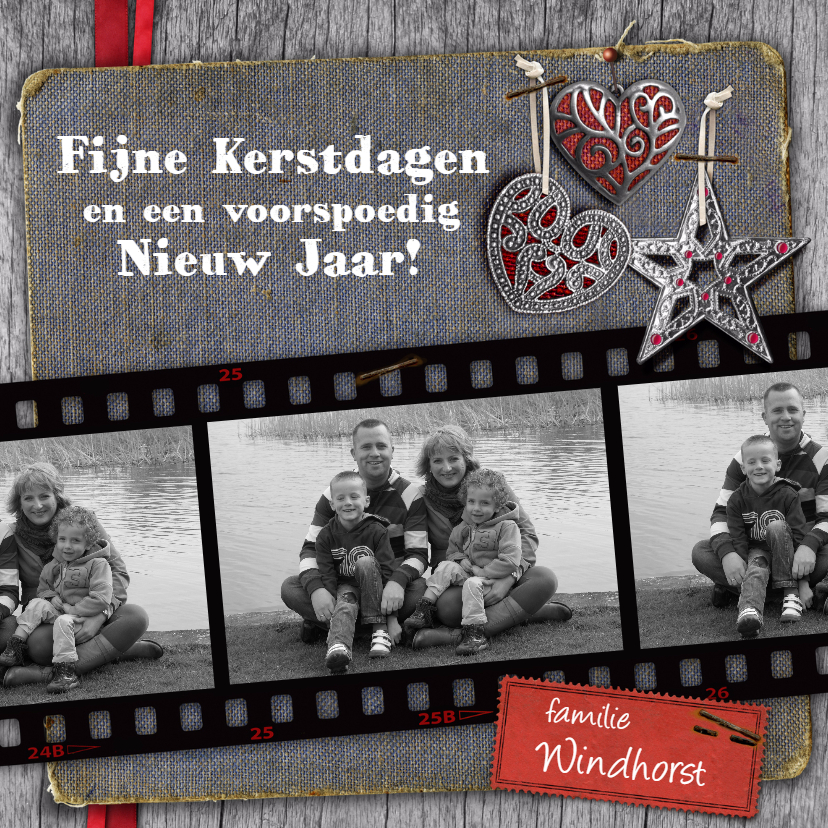 Kerstkaarten - YVON foto filmstrip hip grijs vk