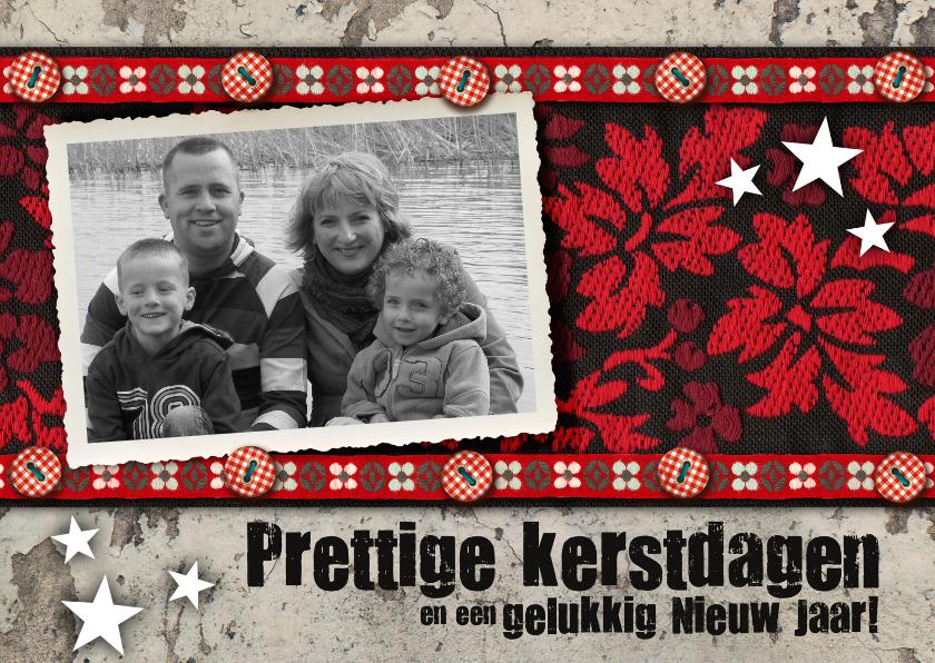 Kerstkaarten - YVON fotokaart lint rood vintage retro