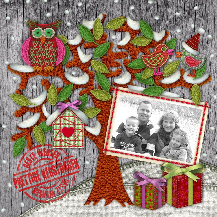 Kerstkaarten - YVON hippe kerstkaart boom uil sneeuw vk