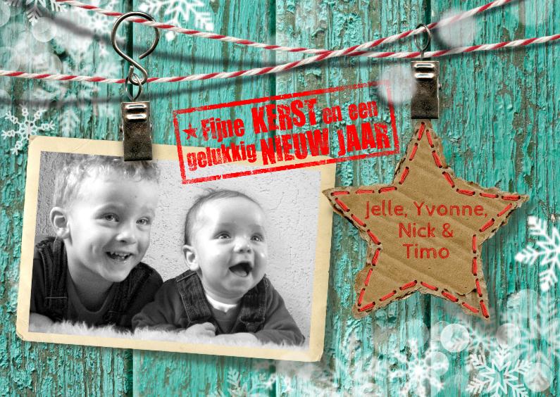 Kerstkaarten - YVON hout kerst sneeuwvlokken