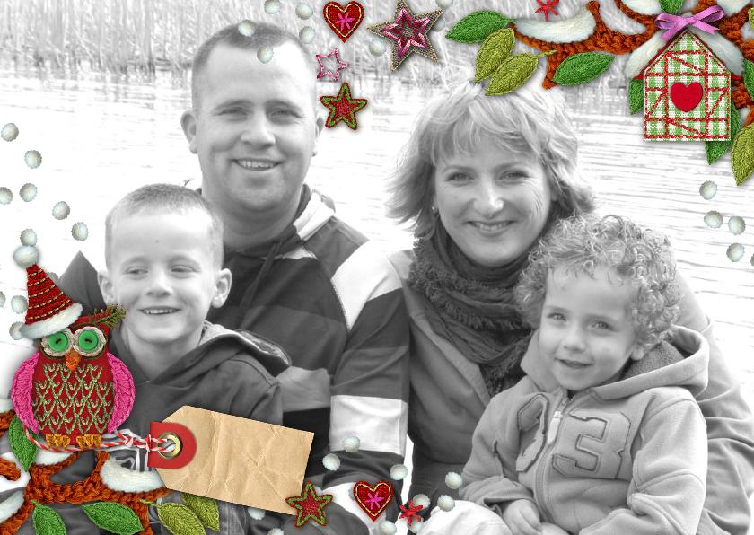 Kerstkaarten - YVON kader foto uil eigen foto li hip